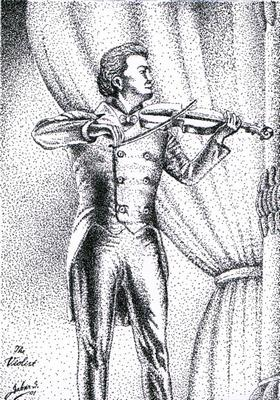 The Violist Pointilism on paper by Sabar S.