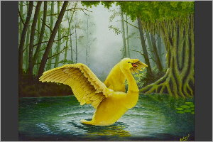 Blossoming Golden Swan